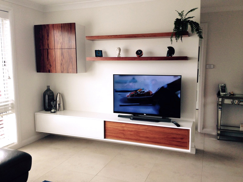 Blackwood And Polyurethane Floating Tv Wall Unitgolden
